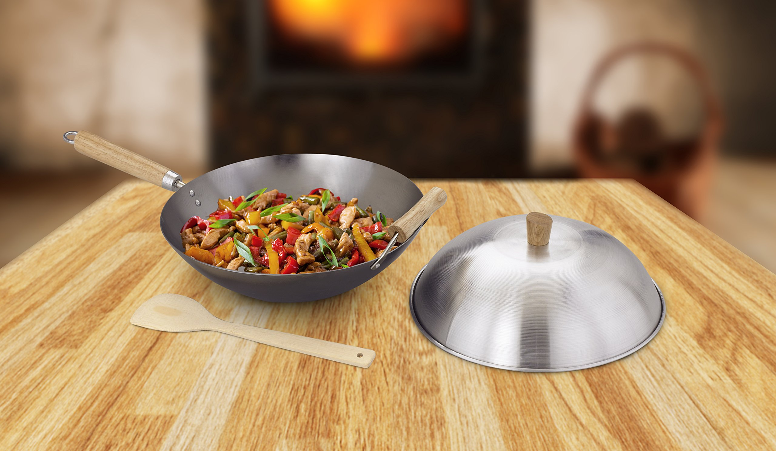 Helen Chen's Asian Kitchen Flat Bottom Wok, Carbon Steel with Lid and Stir Fry Spatula, Recipes Included, 14-inch, 3 Piece Set by Helen's Asian Kitchen (Image #4)