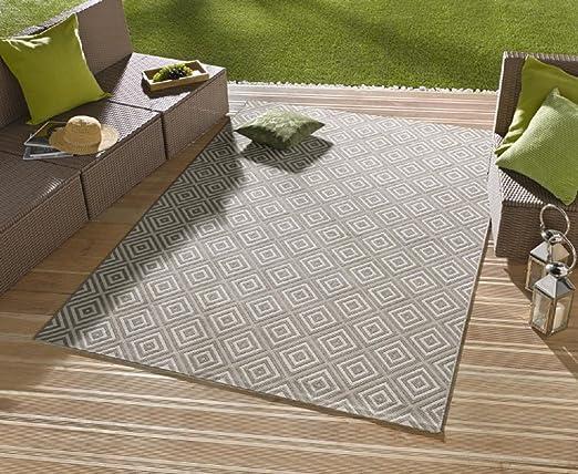 Alfombra/moderna alfombra/salón – Alfombra exterior – para balcón o terraza – para en Y Outdor Adecuado – La Atención a su jardín muebles – Cuadros Gris – Aprox. 80 x 200 cm: Amazon.es: Hogar