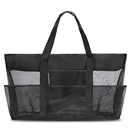 147395cb62ca G4Free Extra Large See Through Lightweight Mesh Tote  Bag(21.65''x14.56''x6.7'') with Zipper Top, Shoulder Bag with 7 Oversized  Pockets, Outdoor ...