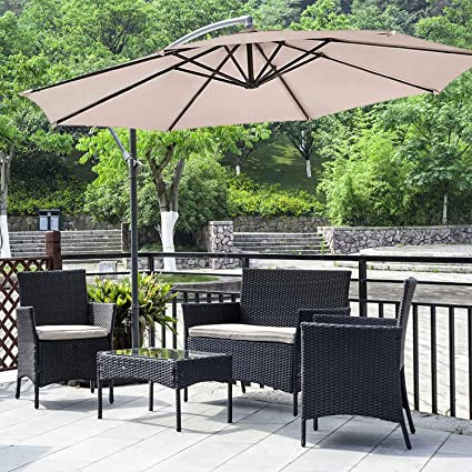 Swell Fdw Patio Furniture Set 4Pieces Outdoor Patio Chairs Wicker Sofa Garden Conversation Bistro Sets With Patio Umbrella Offset 10 Hanging Umbrella For Pdpeps Interior Chair Design Pdpepsorg
