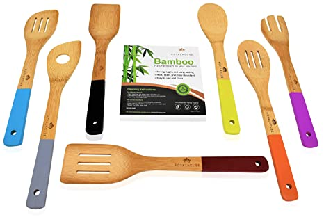 Durable and Long Lasting Cooking Utensils Kitchen Bamboo Spoon Spatulas, 7  Set of Bamboo Kitchen Tools With color Handle