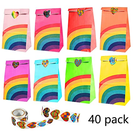 Paper Bags, Comius 40 Pcs Bolsas Regalo Papel con Adhesivos Sellado para Niños Cumpleaños Navidad Suministros Banquetes de Boda (Rainbow)