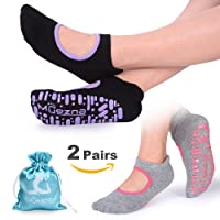 Muezna Non Slip Yoga Socks for Women, Anti-skid Pilates Barre Bikram Studio Socks with Grips (Black, Dk.Green, Burgundy)