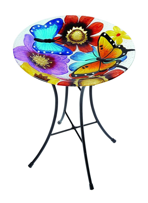 Gardman A04375 Butterfly Glass Bird Bath - Multi-Colour
