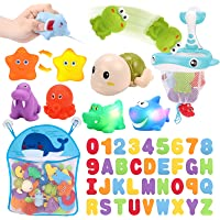 KaeKid Toddlers Bath Toy, Water Spraying Discoloration Light-Up Floating Animals Bath Toys Set, Foam Bath Letters and…