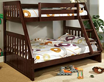 furniture of america neffie bunk bed twin over full dark walnut