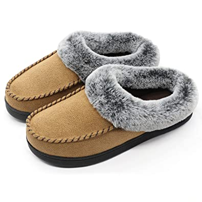 2d1df428e3f347 ULTRAIDEAS Ladies  Cozy Memory Foam Moccasin Slippers with Faux Fur Lining  and Fuzzy Collar