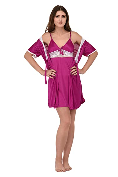 0420f0154e WAOOO Night Suit for Women, Satin Night Dress for Women,Nightwear Shorts  for Women/Ladies Red: Amazon.in: Clothing & Accessories