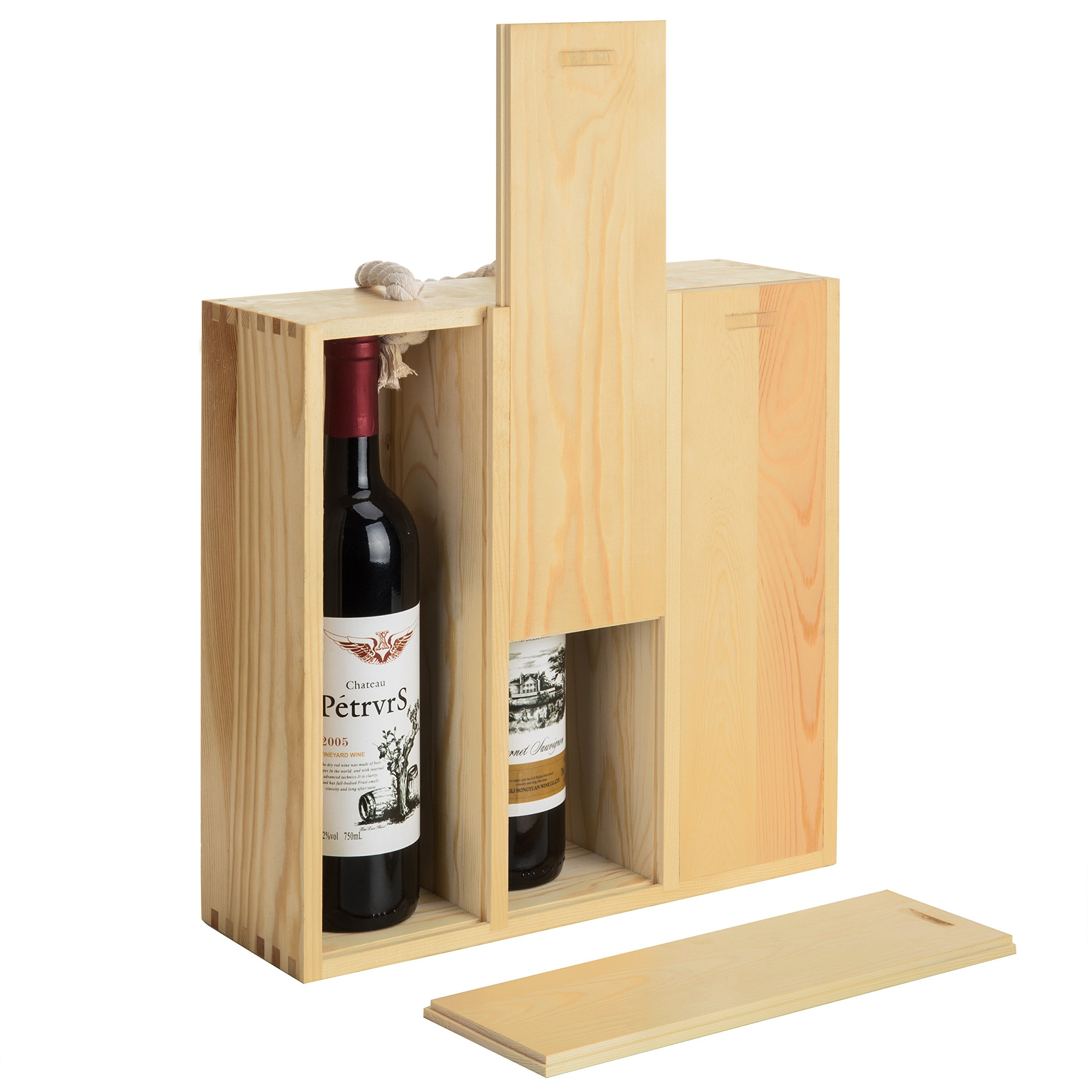 MyGift 3-Bottle Natural Wood Wine Carrying Case with Twisted Rope Handle