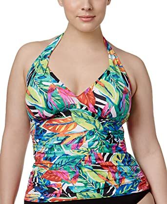 168d05bc5c1 Image Unavailable. Image not available for. Color  Lauren Ralph Lauren  Women s Plus Rainforest Tropical Print Tummy Control ...