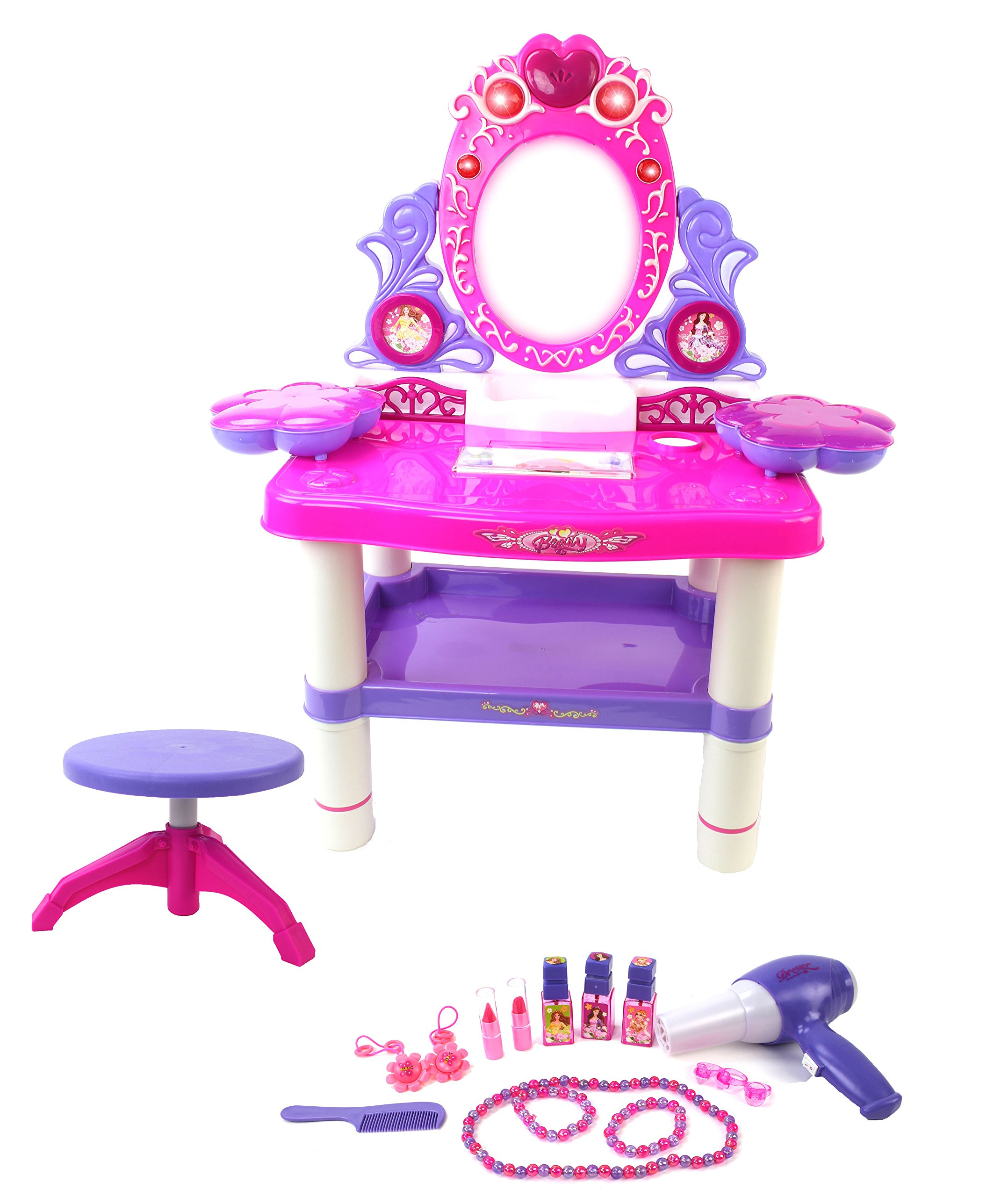 Battery Operated Princess Toy Vanity Mirror Dresser Playset w/ Lights, Sounds, Chair Stool, Toy Jewelry & Accessories