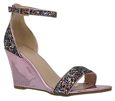 7b0e65c99ebaf MVE Shoes Women's Party Low Heel Wedge-Glittery Decoration Wedding Shoes-Ankle  Strap Open