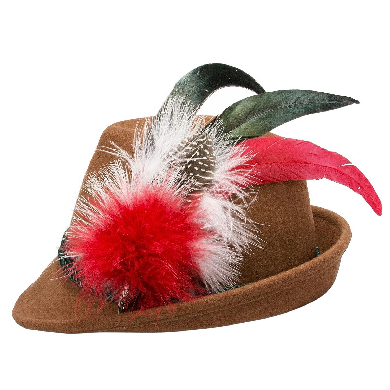 Alpenflüstern Damen Filzhut Trachtenhut braun mit Hutfeder Farbenfroh ADV07500M20 rot
