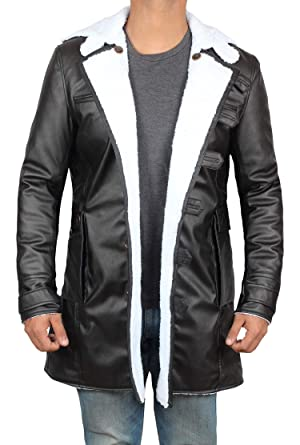 7acdb4f4c377 fjackets Black Shearling Leather Trench Jacket Men | [1600211], Black Bane  Coat PU