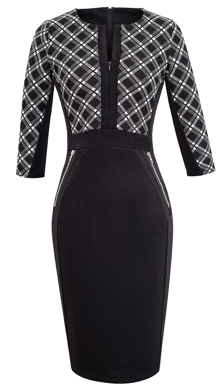 b1a64b07fc865 HOMEYEE Women's V neck Stretch Tunic Pencil Sheath Dress K837 (UK 18 = Size  3XL, Grid + Black): Amazon.co.uk: Clothing