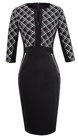 1568feb2785b5 HOMEYEE Women s V neck Stretch Tunic Pencil Sheath Dress K837 (UK 18   Size  3XL