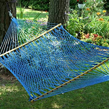 pawleys island hammocks large original duracord rope hammock   coastal blue amazon     pawleys island hammocks large original duracord rope      rh   amazon