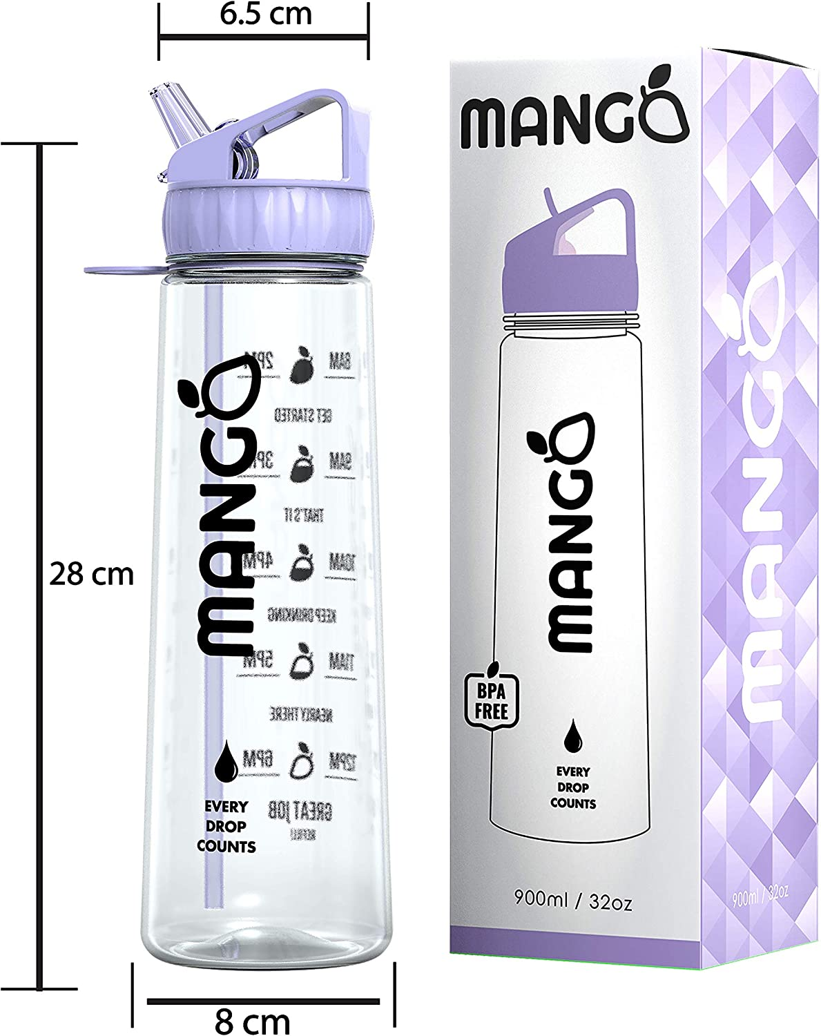 900ml//32oz - BPA Free With Flip Nozzle and Leakproof cap 9 Colours Mango Motivational Water Bottle With Straw and Times To drink