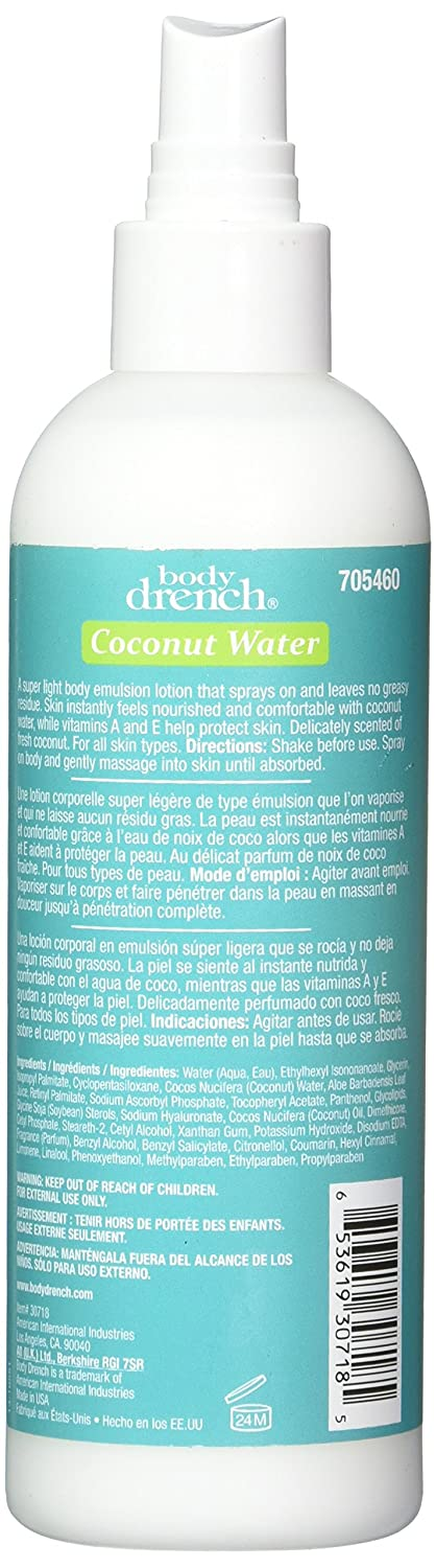 Amazon.com : Body Drench Coconut Water Spray Lotion, 8.5 Fluid Ounce : Beauty