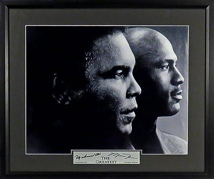 "a95296e77e05f Muhammad Ali & Michael Jordan ""The Greatest"" 11x14 Photograph (SGA  Signature Engraved Plate Series) Framed"