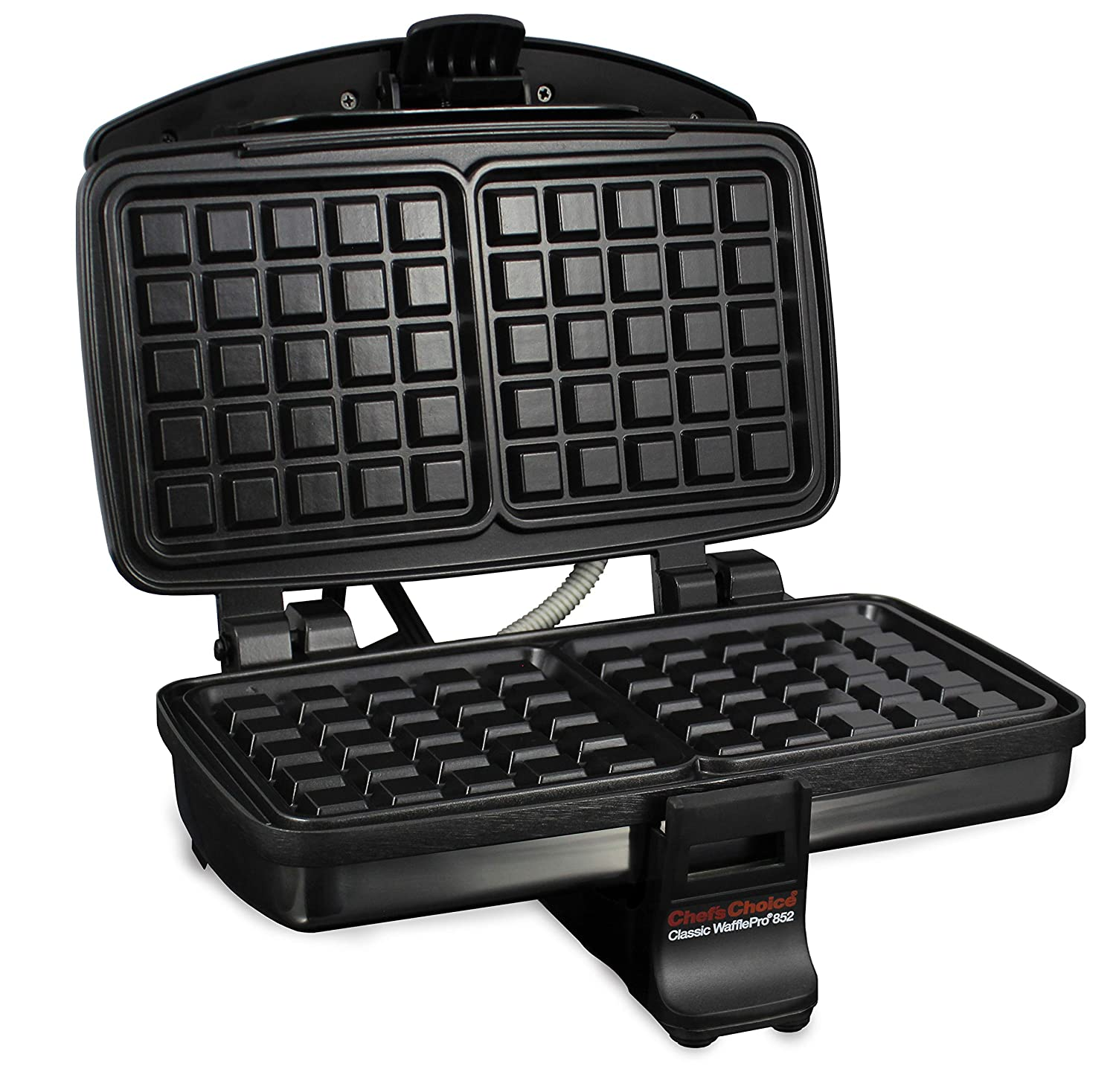 Chef sChoice 852 Classic WafflePro Nonstick Waffle Maker Features Adjustable Baking Control and Instant Temperature Recovery for Delicious Waffles and Includes Built-in Cord Storage, 2-Square, Silver