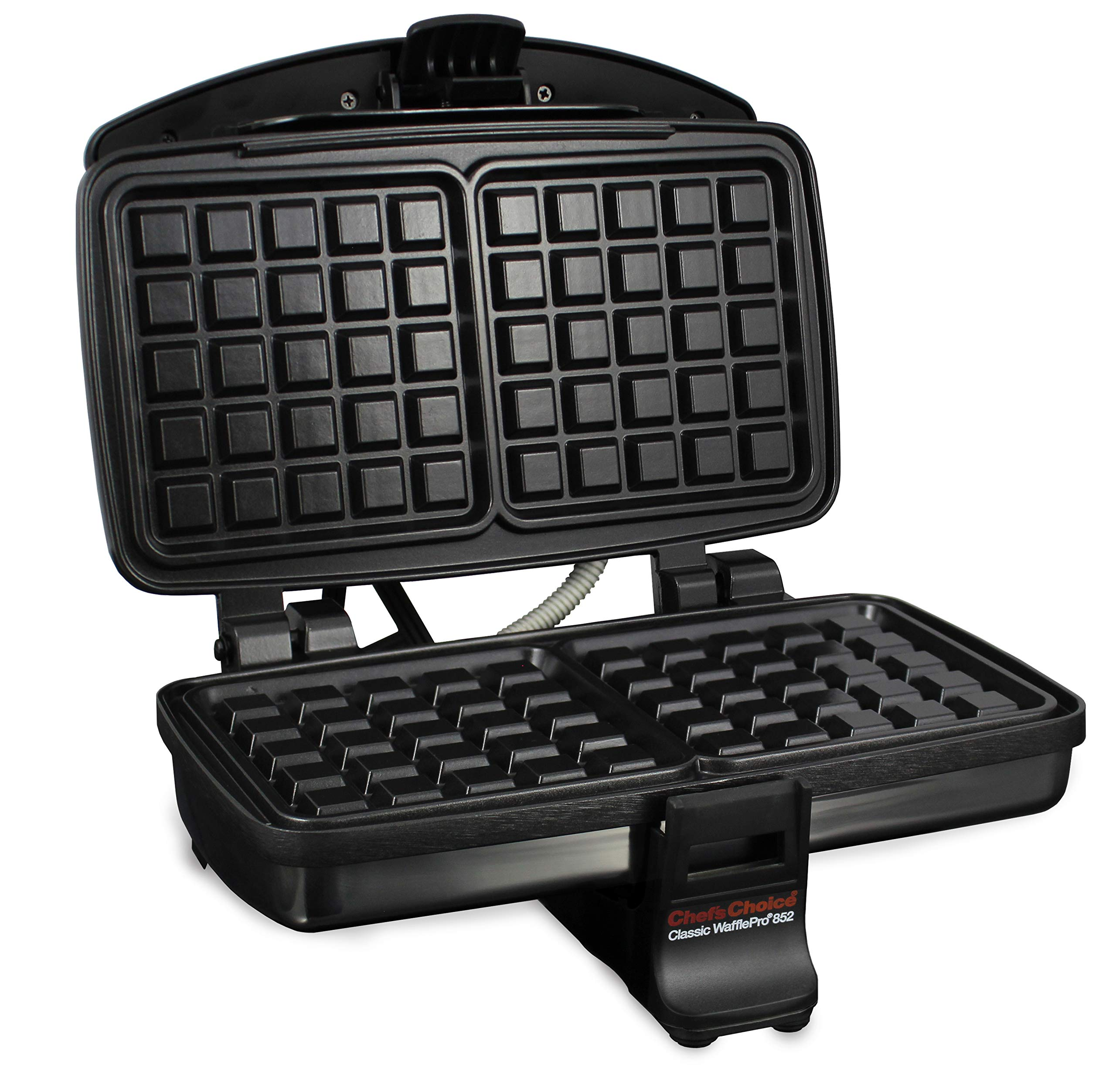 Chef'sChoice 852 Classic WafflePro Nonstick Waffle Maker Features Adjustable Baking Control and Instant Temperature Recovery for Delicious Waffles and Includes Built-in Cord Storage, 2-Square, Silver by Chef'sChoice