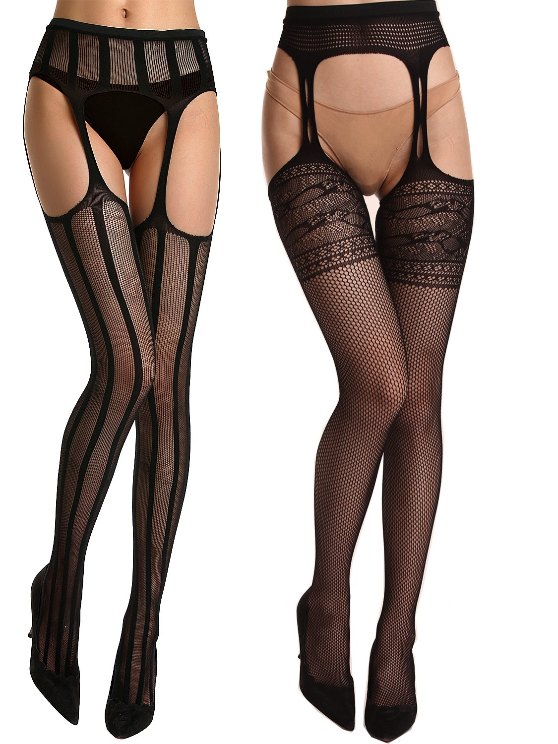 Florboom Womens Suspender Pantyhose Patterned Crochless Garter Fishnet Tights 2 Pairs