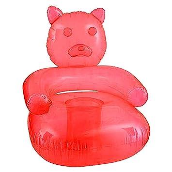 SNInc. Silla Hinchable de Goma roja con diseño de Oso de ...