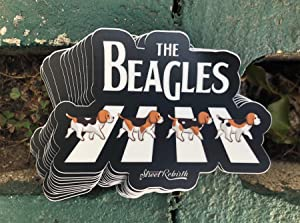 1 The Beagles Sticker - One 4 Inch WaterProof Vinyl - Cute Doggy Pun Funny Decal Puns For Hydro Flask Skateboard Laptop etc