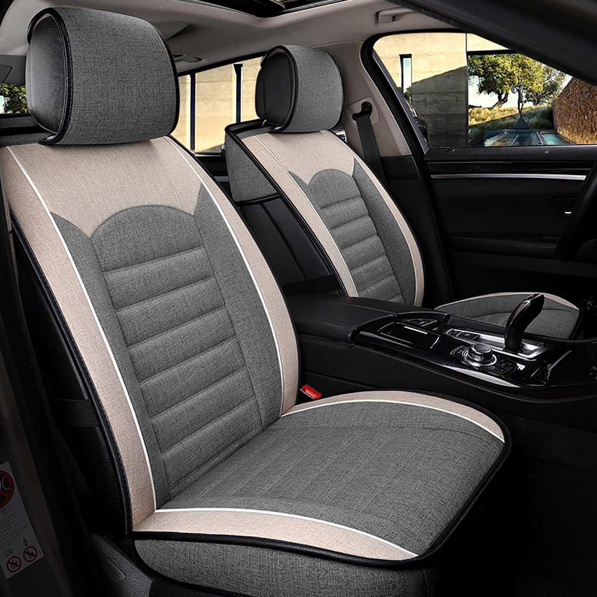 INCH EMPIRE Sport Style Linen//Flax Super Breathable Car Seat Covers Full Set Adjustable Seat Covers for Audi Jeep Ford Mercedes-Benz and 98/% Other Types of 5 Seats Cars