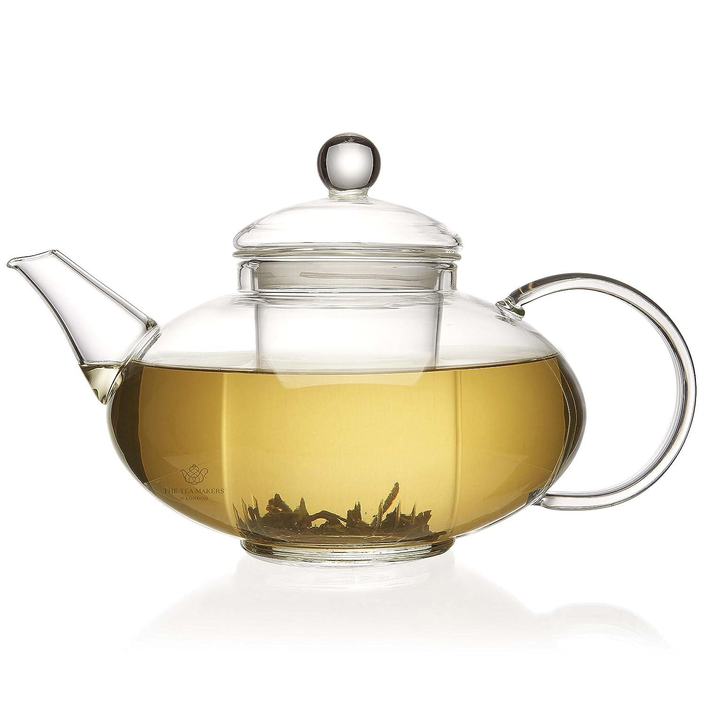 The Tea Makers of London 1400 ml Glas-Teekanne mit Glas-Siebeinsatz mit Verbessertem Deckel