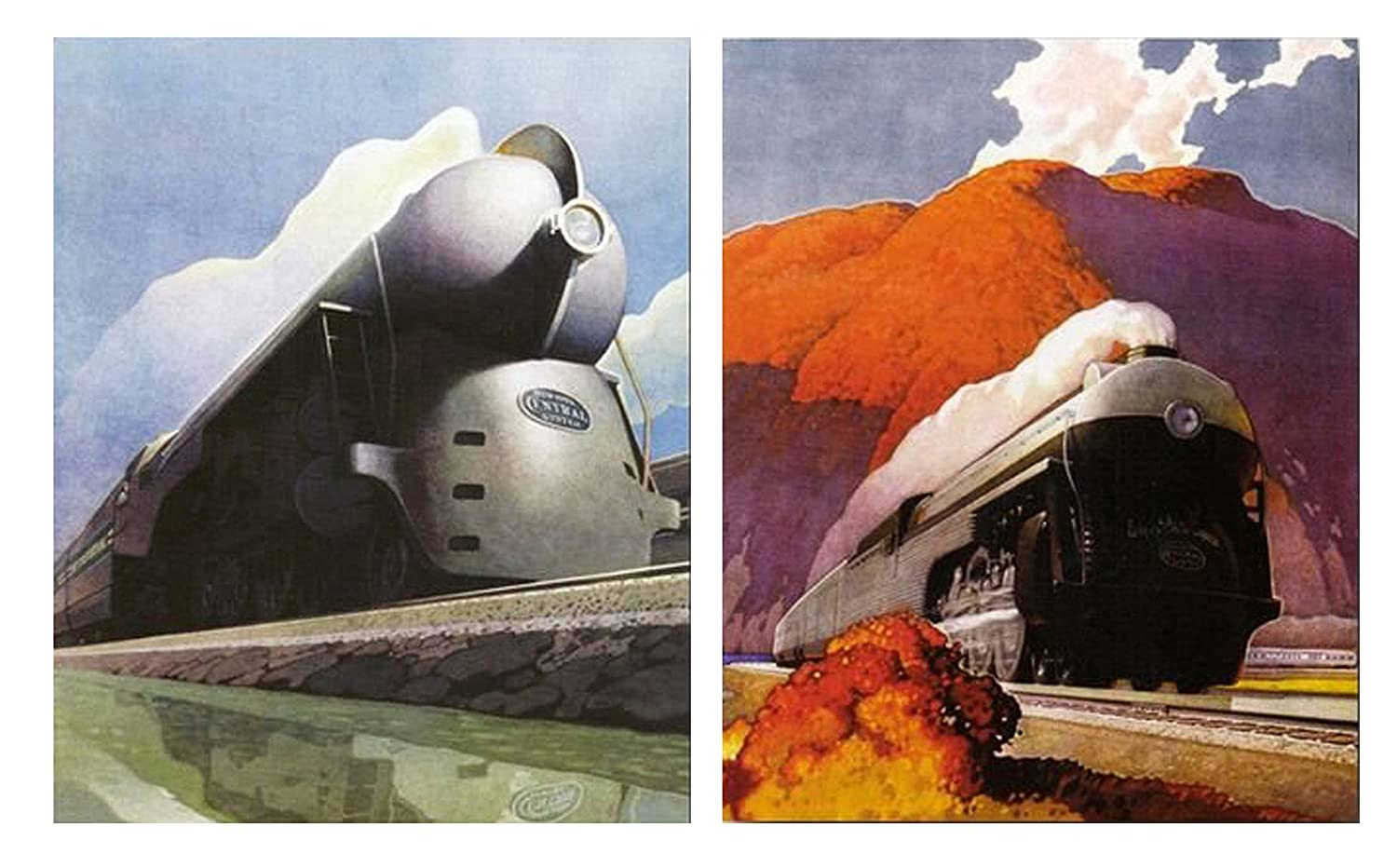 Vintage New York Central Locomotive Mountain Wall Decor Express Train Picture 16x20 Two Set Art Print Posters