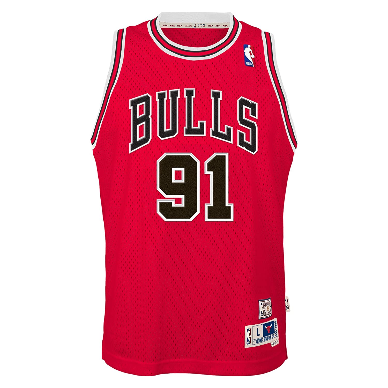 OuterStuff Dennis Rodman Chicago Bulls NBA - Camiseta de manga corta para hombre, color rojo, L: Amazon.es: Deportes y aire libre