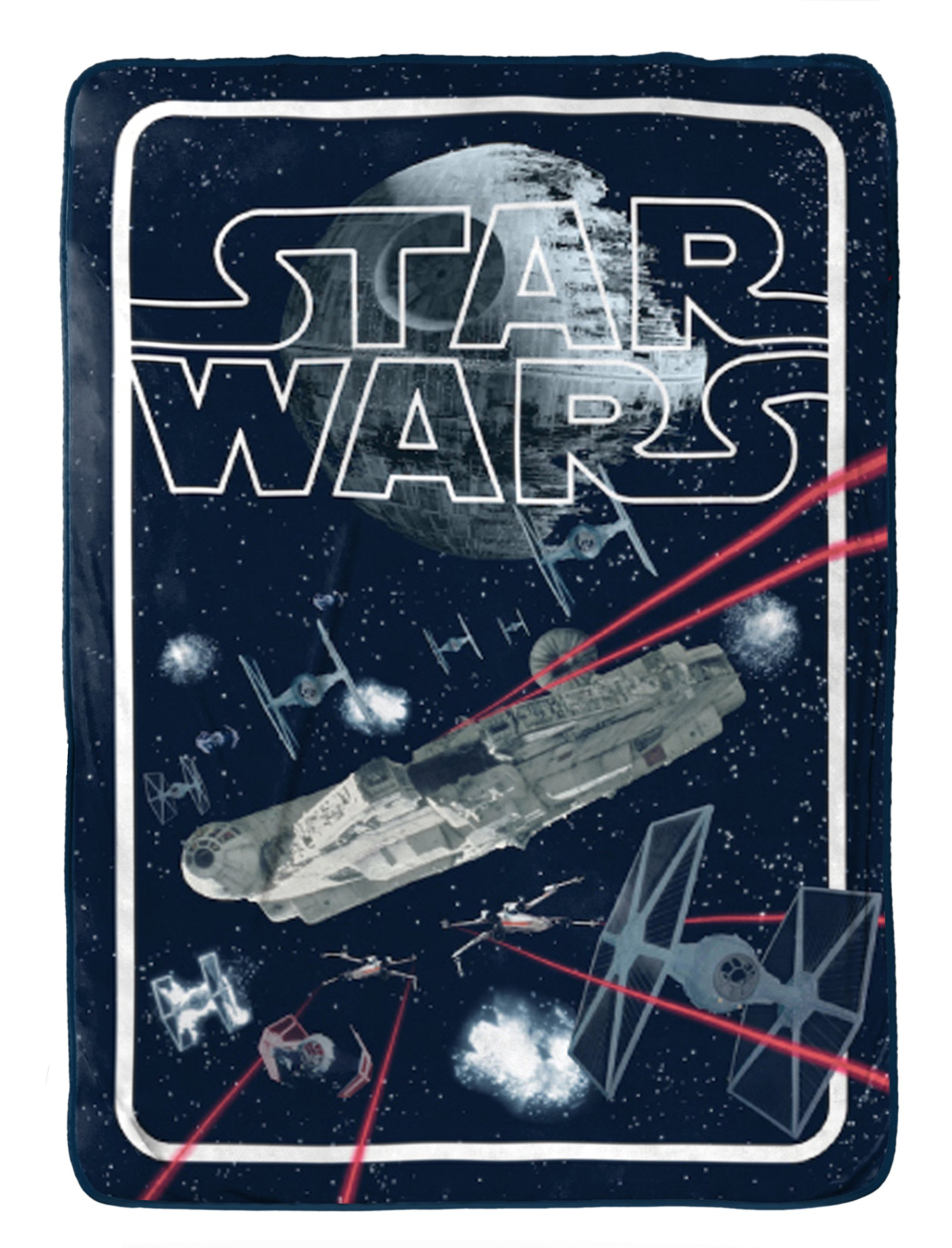 Star Wars Classic Space Battle Flannel/Silk Touch 62'' x 90'' Twin Blanket