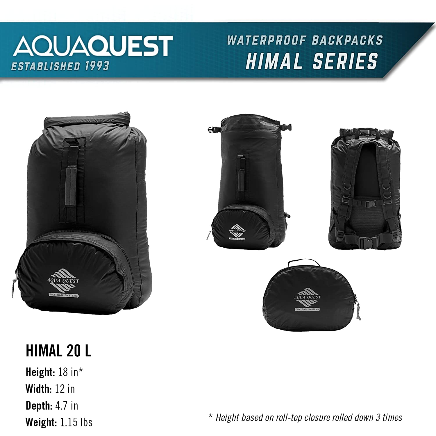 2d148f9aeb9f Amazon.com  Aqua Quest Himal Backpack - 100% Waterproof 25L Dry Bag -  Lightweight