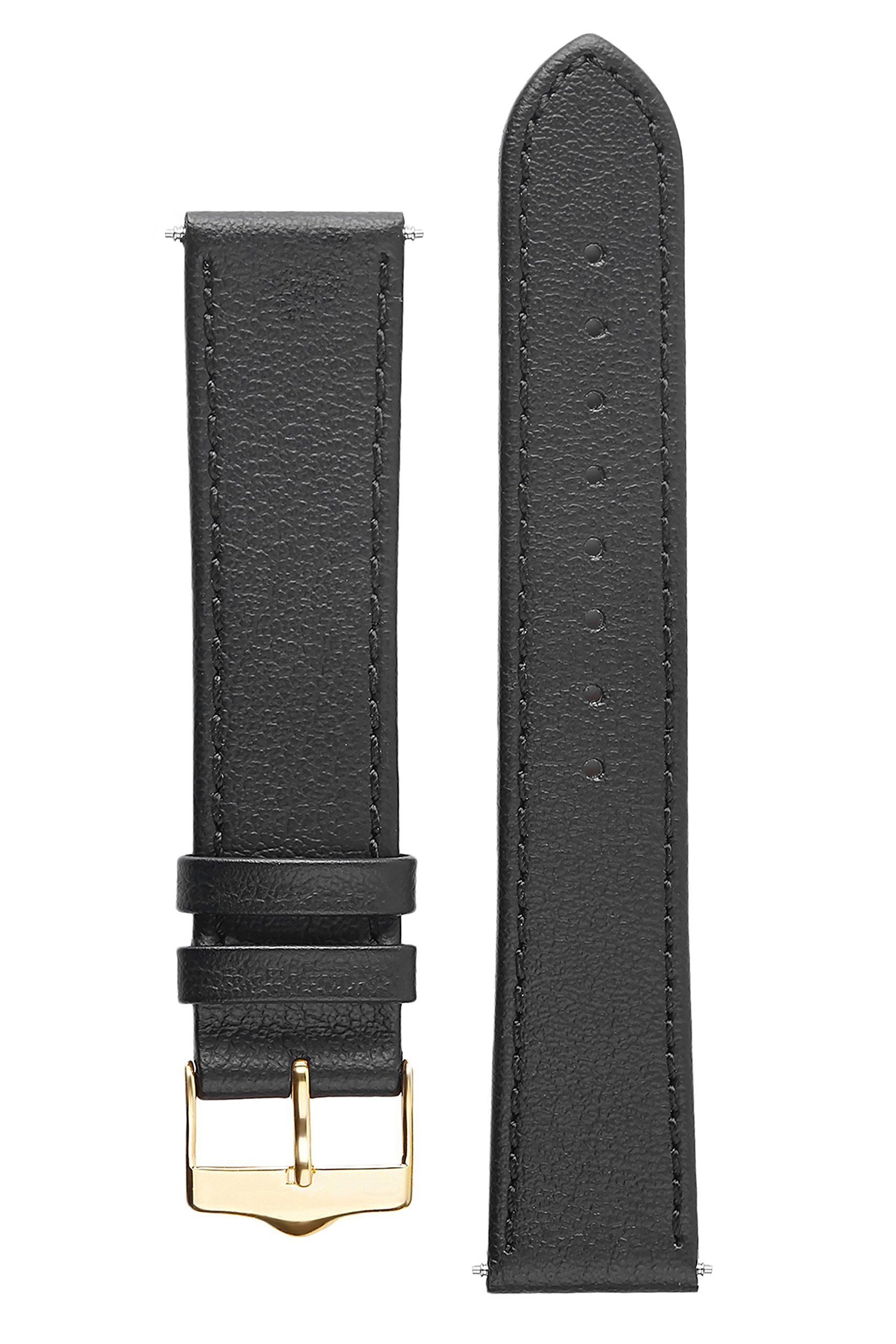Signature Seasons in black 18 mm watch band. Replacement watch strap. Genuine leather. Gold Buckle