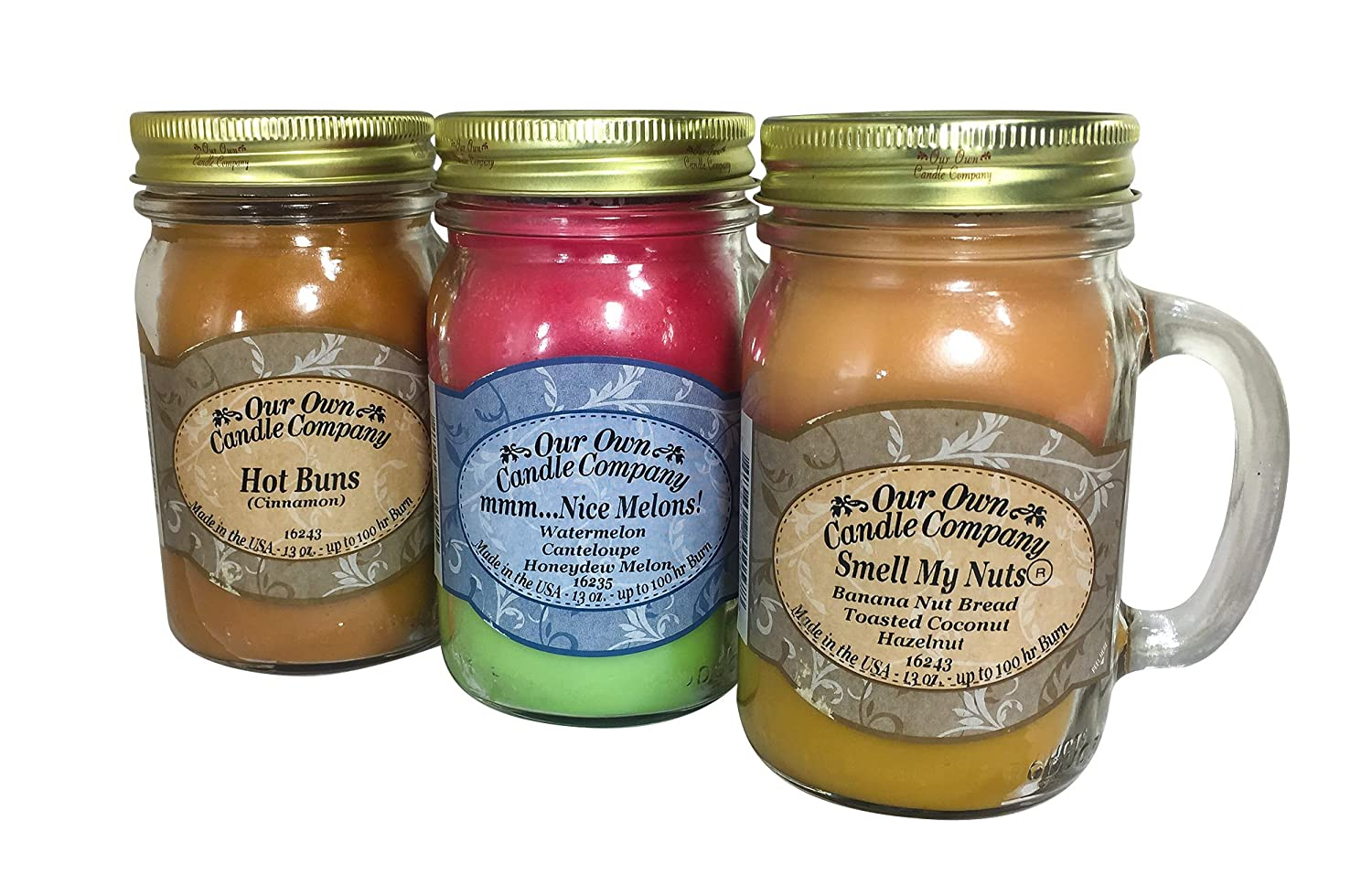Our Own Candle Company Smell My Nuts, Nice Melons, and Hot Buns - Sassy Pack Scented Mason Jar Candles, 13 oz (3 Pack)
