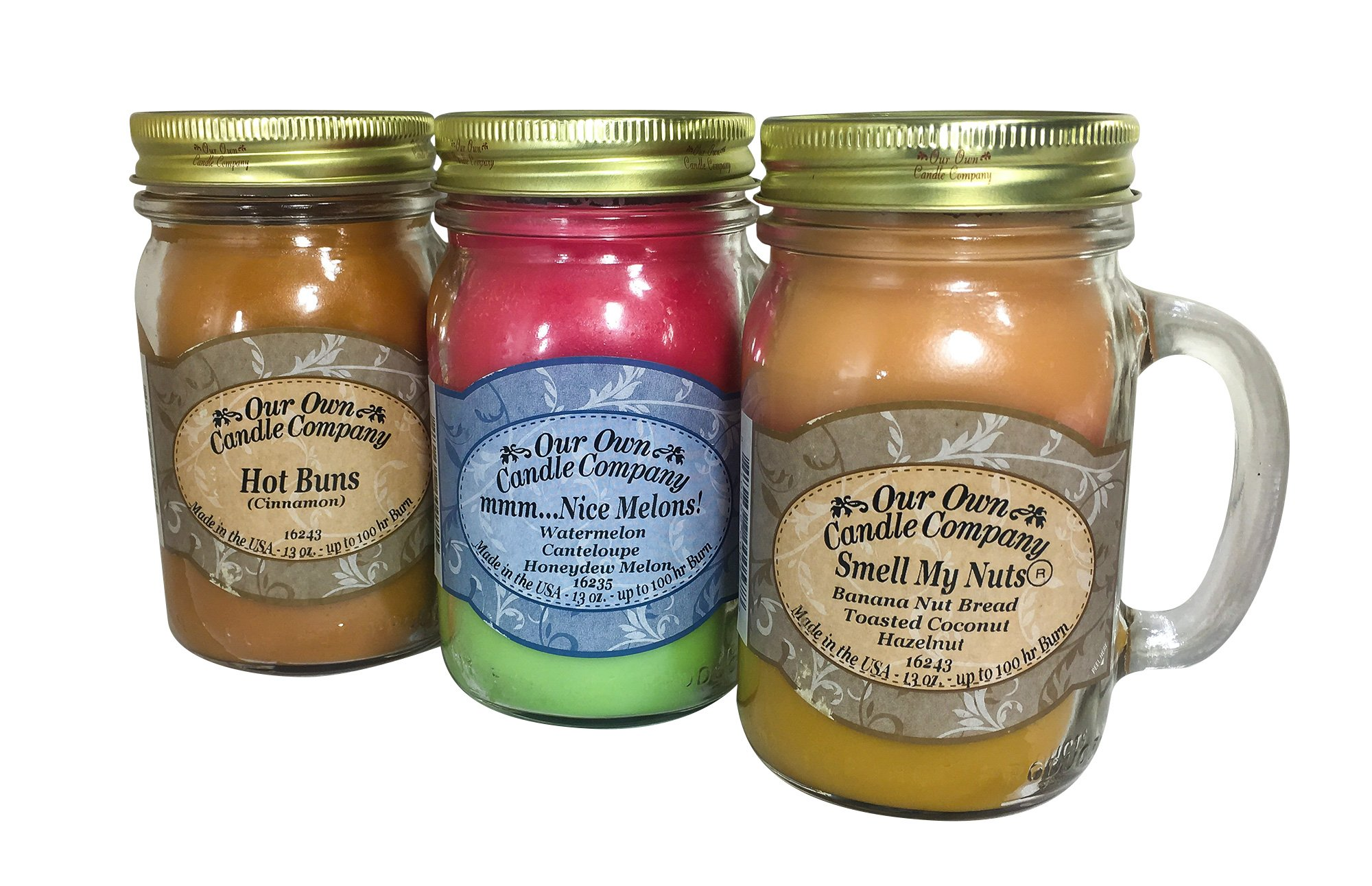 Our Own Candle Company Smell My Nuts, Nice Melons, and Hot Buns Scented Mason Jar Wick Trimmer 13 oz (3) (3), Sassy Pack