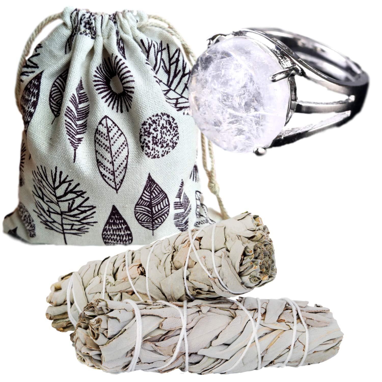 Worldly Finds Sage Smudge Sticks Smudging Kit Healing Stones,White Quartz Crystal, Quartz Rings for Women, Quartz Ring, Metaphysical Gifts (White Quartz Ring Set)