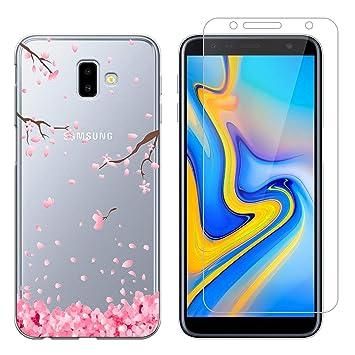 Funda Samsung Galaxy J6 Plus Flor de melocotón Suave TPU Silicona Anti-rasguños Protector Trasero Carcasa para Samsung Galaxy J6 Plus 2018 (6.0 ...