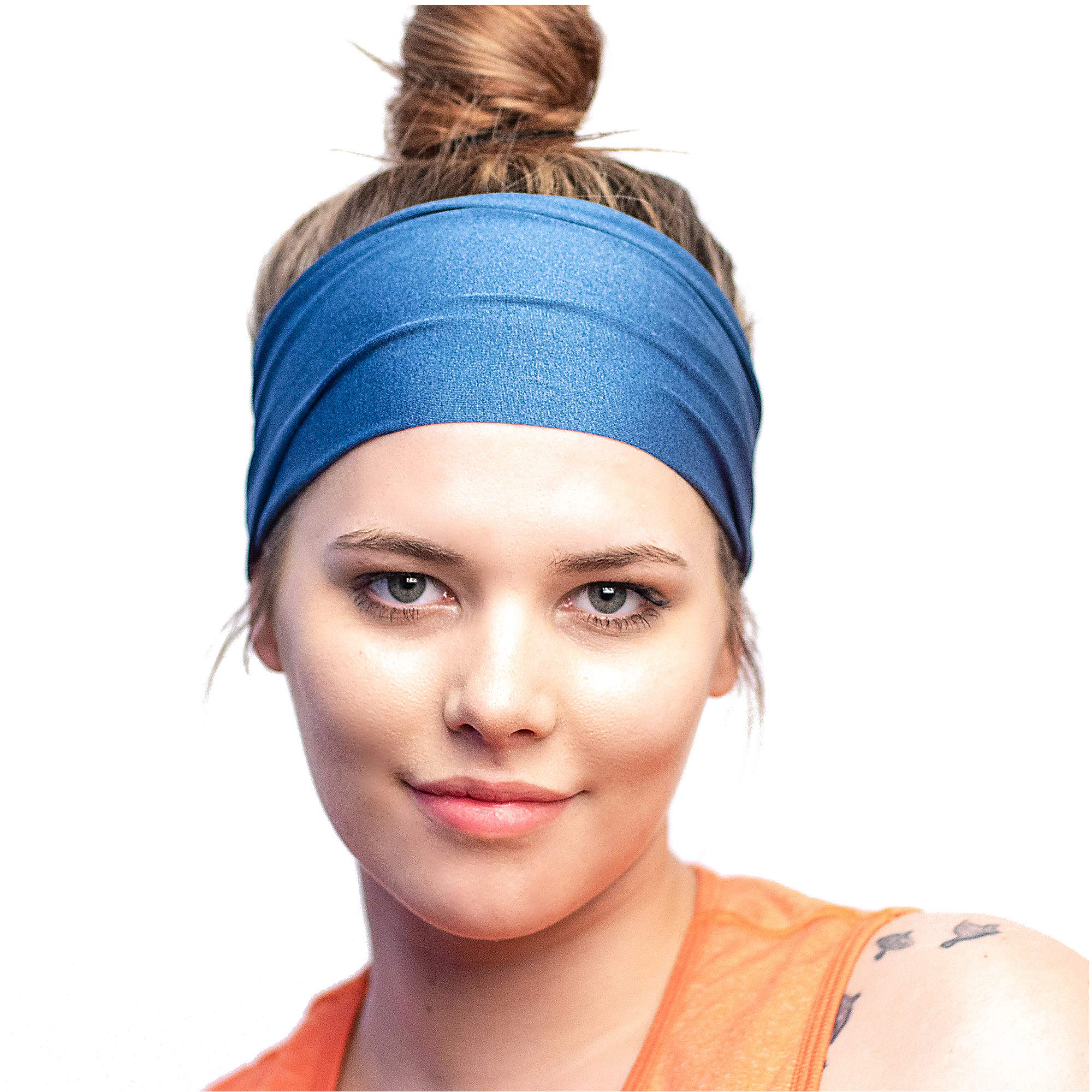 Red Dust Active Running Headband - The Perfect Sweatband for Athletic Workouts, Sports, Yoga - Grey Bandana - Designed for Women Borrowed by Men by Red Dust Active (Image #1)