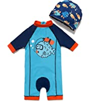 Baby Boy UPF 50+ Sun Protection One-Piece Swimsuit (3-6 Months, Fish)