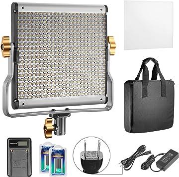 Neewer 調光可能2色LEDプロビデオライト Uブラケット、充電式Li-ionバッテリー(二つ)、USB充電器(一つ)付き スタジオ、YouTube屋外ビデオ写真照明キットに対応 耐久性金属フレーム 480LEDビーズ、3200-5600K、CRI 96+