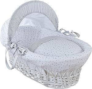 Clair de Lune estrellas y rayas color blanco mimbre Moisés Basket inc. ropa de cama, colchón y capucha ajustable (gris)