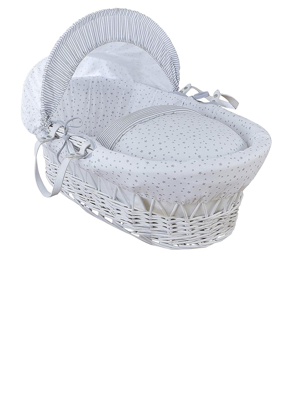 Clair de Lune, cesta per neonato, motivo stelle e strisce, in vimini, bianca, con Lenzuola, materasso e cappotta regolabile CL5811WGY