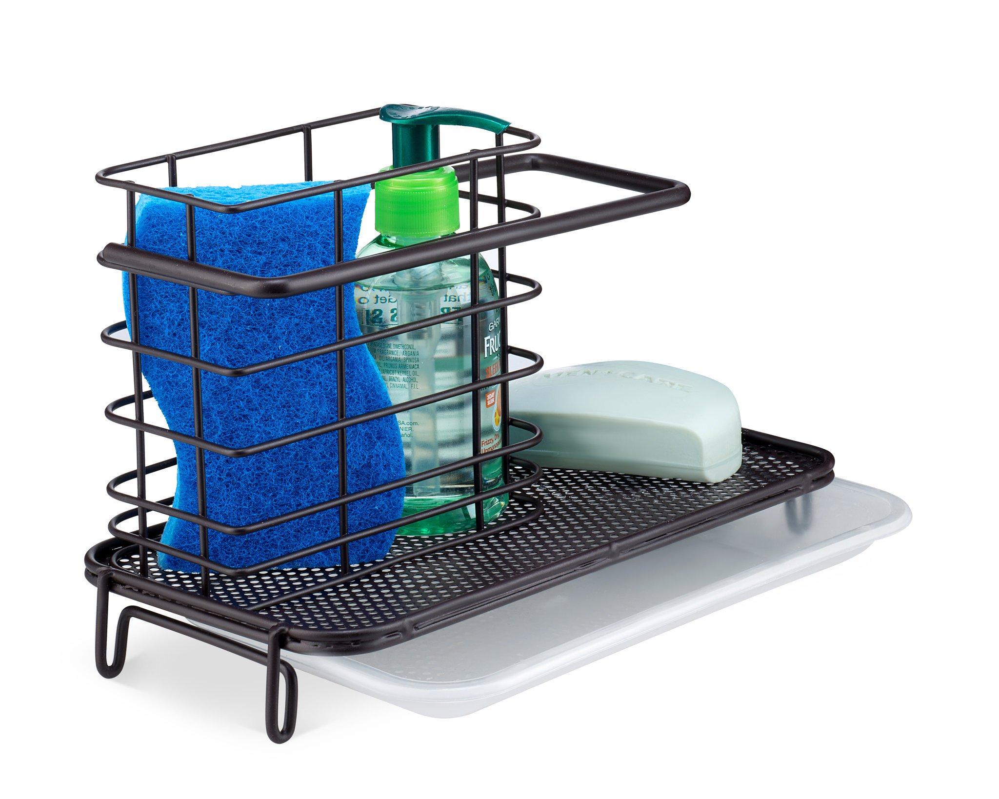 Saganizer Kitchen Sink Caddy Holder for Dish Soap or Sink Sponge Holder - Brush Holder Sink Tidy Bronze Finish Kitchen Sink Caddy by Saganizer