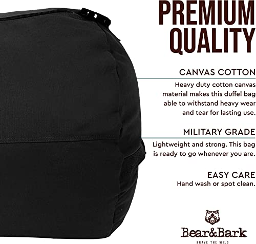 Large Duffle Bag Black 38 x20 – 195.6L – Canvas Military and Army Cargo Style Duffel Tote for Men and Women College Student, Backpacking, Travel and Storage Shoulder Bag