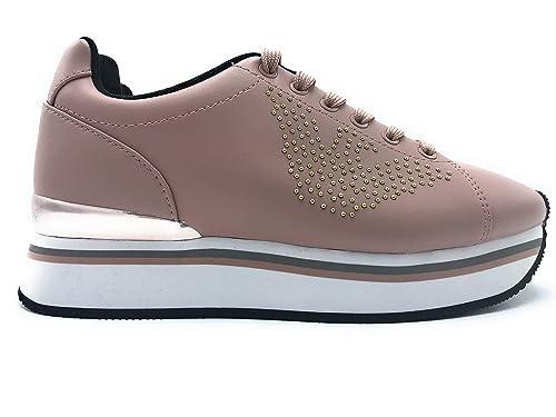 Emporio Armani - Zapatillas de Cuero para Mujer Rosa Rosa: Amazon.es: Zapatos y complementos