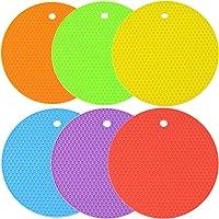 PERTTY 硅胶隔热垫和硅胶热垫 6 件蜂巢防滑硅胶垫不同颜色,适合厨房和家居使用