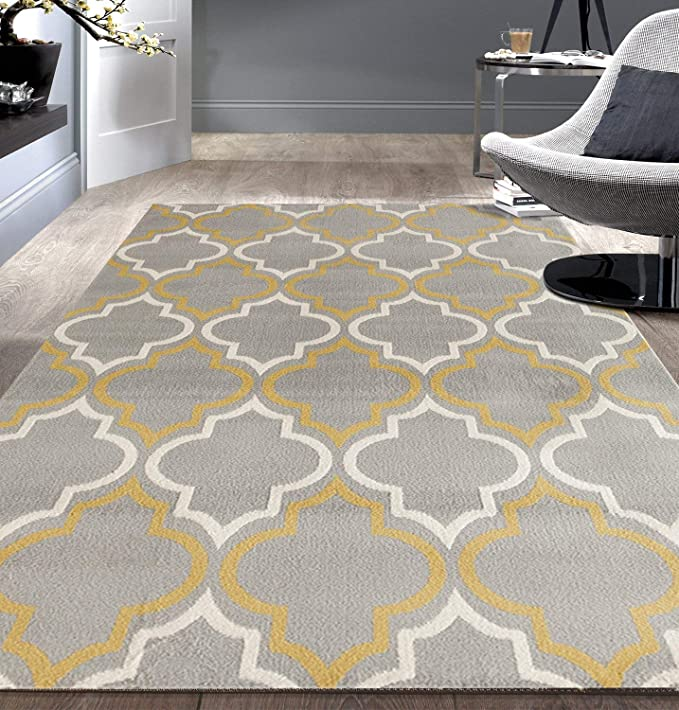 Modern Moroccan Trellis Gray Yellow 5 X 7 Area Rug Furniture Decor Amazon Com